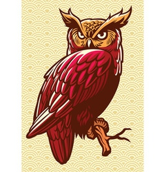 owl stand on the tree branch vector image vector image