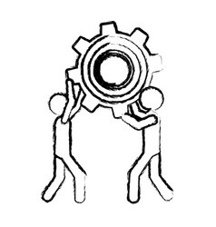 sketch of men holding a pinion vector image