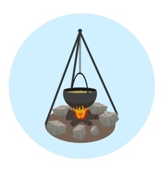 Campfire with pot icon Outdoor food preparing vector image vector image