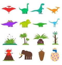 Dinosaurs Flat Set vector image vector image