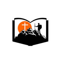 the man on the mountain goes to the cross of jesus vector image