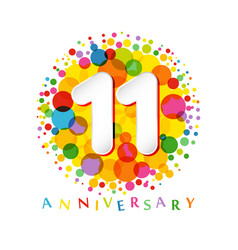 11 years anniversary paper colorful logo vector