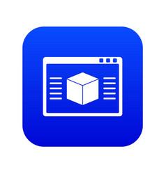 3d model icon digital blue vector image
