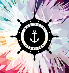 Abstract colorful anchor navy nautical theme vector image