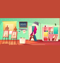 Art studio interior creative workshop room vector