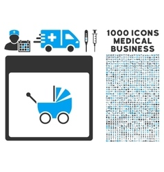 Baby Carriage Calendar Page Icon With 1000 Medical vector