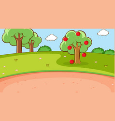 background scene with apple tree in park vector image