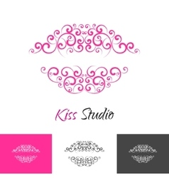 Beauty salon kiss lips logo concept vector image