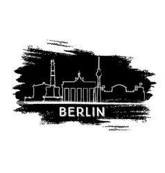 Berlin skyline silhouette hand drawn sketch vector