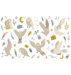 Big set cute owls and hand drawn floral and sky vector