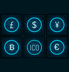 Bitcoin yen and pound sterling set icons vector