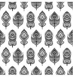 Black and white mandala feathers seamless pattern vector