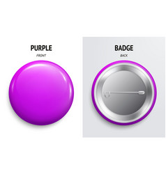 Blank purple glossy badge or button 3d render vector