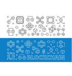 blockchain cryptocurrency outline banners vector image