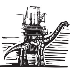 Brontosaurus oil rig vector