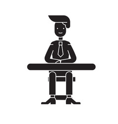 businessman sitting at the table black vector image