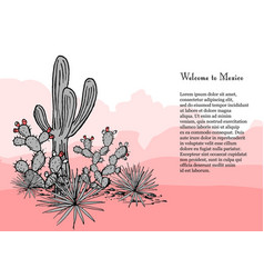 cacti group prickly pear cactus blue agaves and vector image
