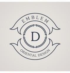 Calligraphic round emblem Vintage symbol vector