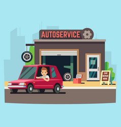 Car service station or repair garage with happy vector
