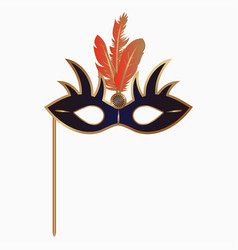 carnival face mask with feathers and handle vector image
