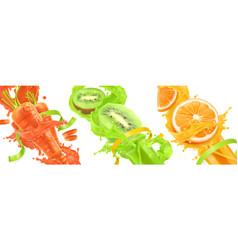 carrots kiwi orange splash of juice healthy food vector image