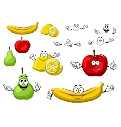 Cartoon apple lemon banana pear fruits vector