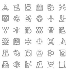 chemical research linear icons set vector image