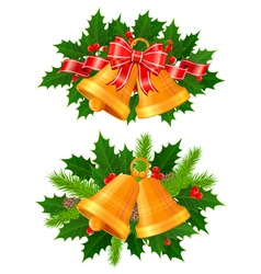 christmas bells of holly vector image