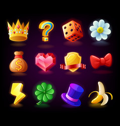 Colorful slots icon set n2 for casino slot machine vector