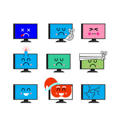 computer emoji set sed and happy pc emotion sick vector image