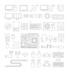 Computer hardware line icons set vector