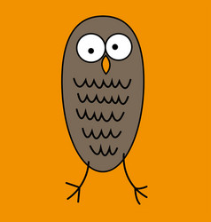 Crazy funny owl with big eyes hand drawn vector
