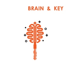 Creative brain logo with key logo vector