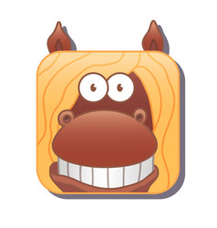 cute square brown horse with yellow mane vector image