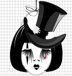 dame in black hat vector image