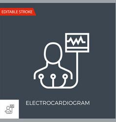 electrocardiogram thin line icon vector image