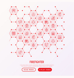 firefighter concept in honeycombs vector image