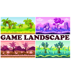 flat game nature design backgrounds set vector image