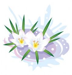 flowers and snow vector image