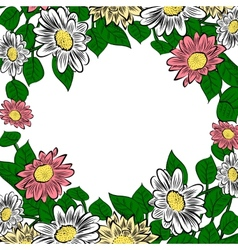 Frame with hand-drawn colorful flowers vector