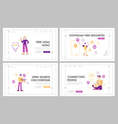 free download landing page template set vector image