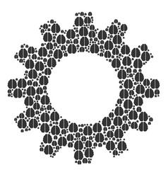 gearwheel mosaic of brain icons vector image