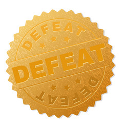 Gold defeat medallion stamp vector