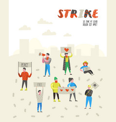 group of flat angry people protesting at strike vector image