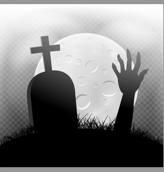 Halloween zombie hand grave in moonlight vector