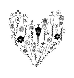 hand drawn flowers and leaves doodle monochrome vector image