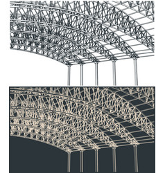 Hangar support structures close up vector