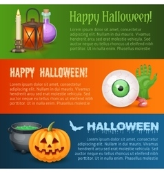 Happy Halloween three horizontal banners vector image