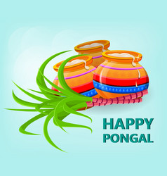 Happy pongal greeting card on gentle blue vector