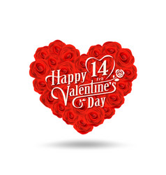 happy valentines day message design on rose vector image